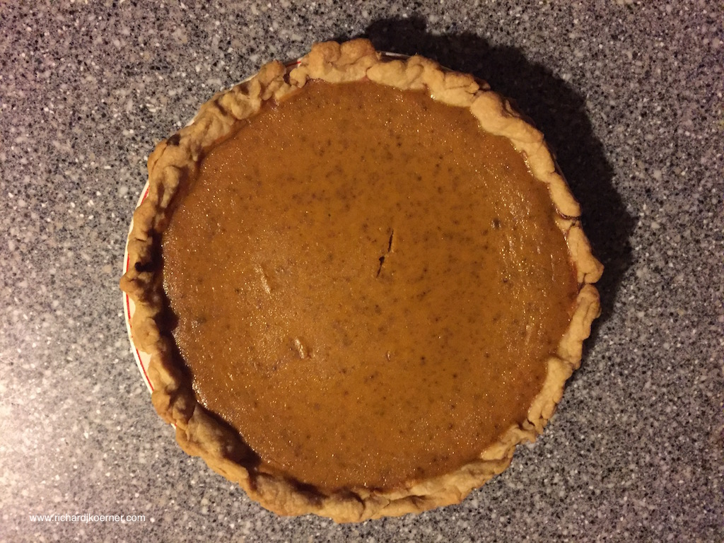 One of the three pumpkin pies MK made.